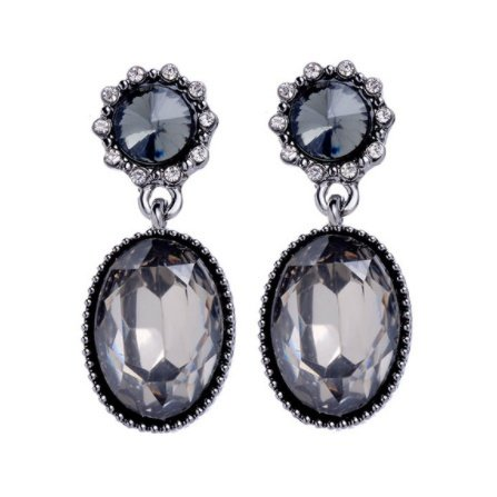 DROP GEM EARRINGS - GREY