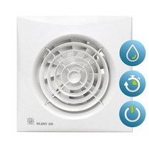 Silent 200 CHZ TIMER + VOCHTSENSOR Badkamer/ toilet ventilator - dia 120mm