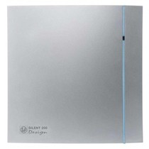 Silent Design 200 CHZ TIMER + VOCHTSENSOR Badkamer/ toilet ventilator - dia 120mm (zilver)