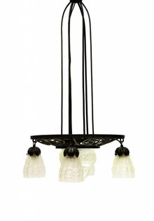 Degue Art Deco Hanglamp, Persglas, Degue stijl, 1910
