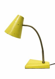 Industriele Bureaulamp, Geel Metaal, 1950