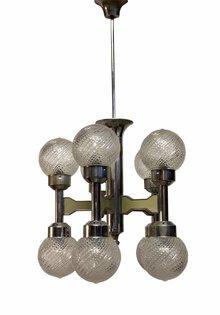 Retro Hanglamp, 10 glazen bollen