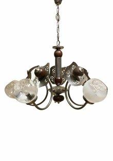 Hanglamp, Hout-Chroom Armatuur met Murano Glas