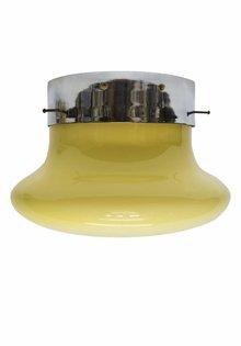 Design Plafondlamp, Grote Creme Glazen Kap