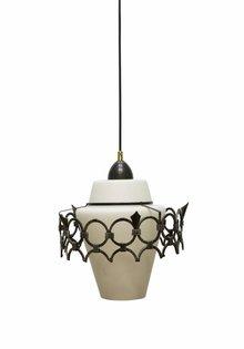 Hanglamp Wit, Melkwit Glazen Kap met Metalen Ring