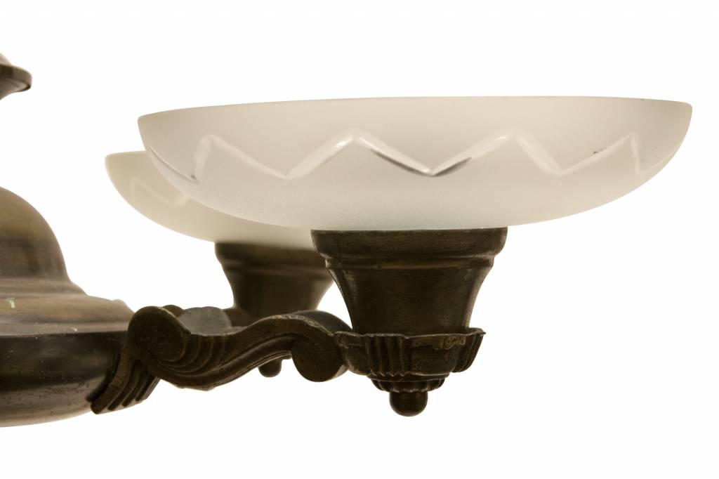 Art Deco Hanglamp : Art deco hanglamp koper armatuur met geslepen kapjes ca