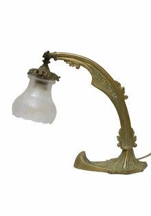 Antieke Bureaulamp, geslepen glazen kap