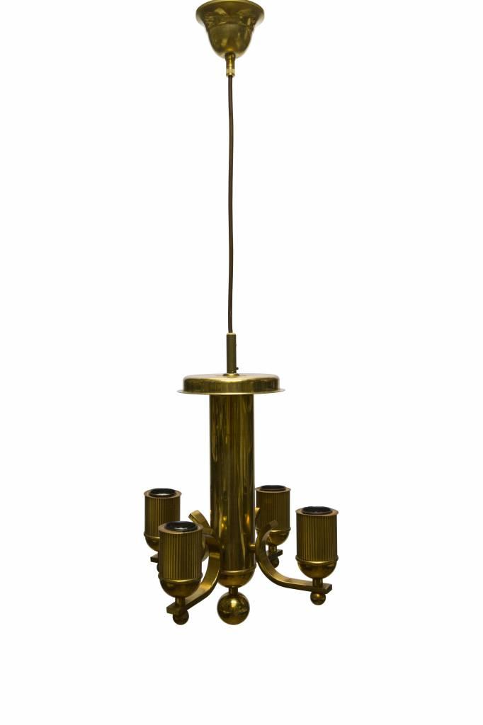 koperkleurige kroonluchter strak modern elektrisch ca 1950 lamplord. Black Bedroom Furniture Sets. Home Design Ideas