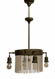 Antieke Hanglamp, Rond Koper Frame met Glazen Kralen, 1910