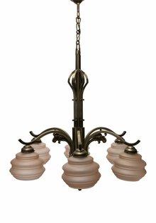 Grote Hanglamp, 6-Armig Armatuur, Roze Glas