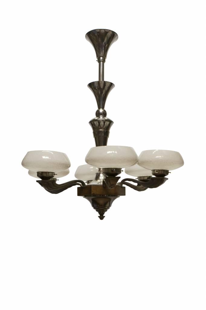 Jaren 30 Hanglamp, 6 armen, materiaal: glas, chroom, hout. - Lamplord