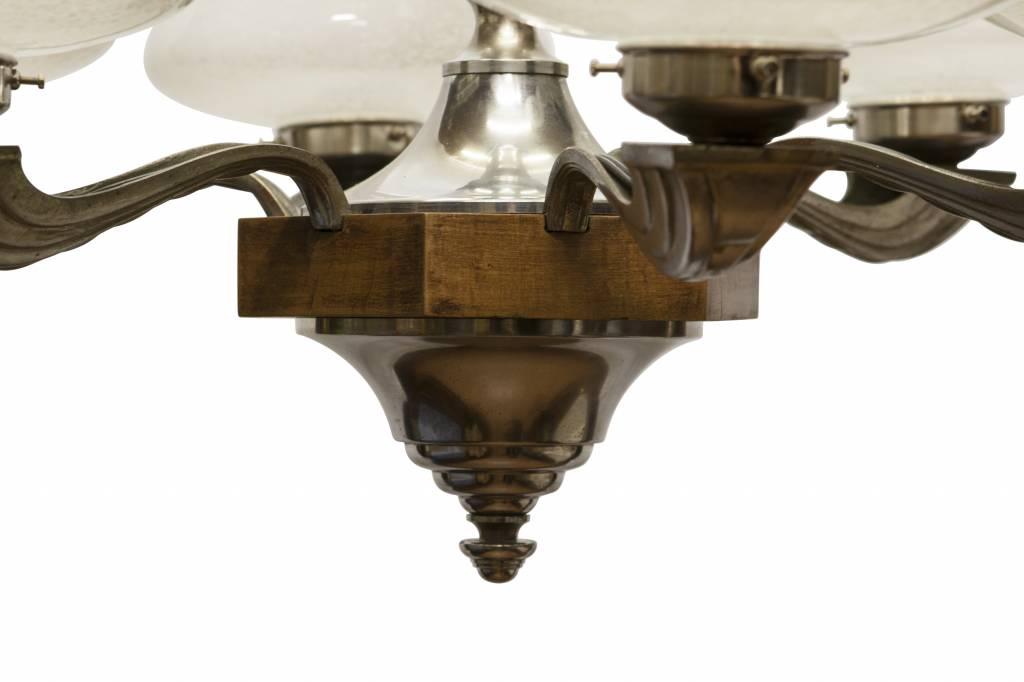 Art Deco Hanglamp : Jaren hanglamp armen materiaal glas chroom hout lamplord