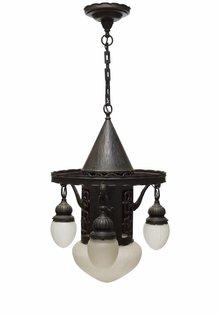 Grote Hanglamp met Bronzen Inleg
