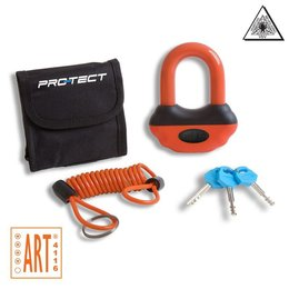 Pro-tect Topaz ART-4 schijfremslot oranje met reminderkabel en tas
