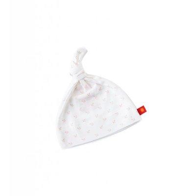 Little Label Mutsje newborn – off white met roze ankertjes – one size