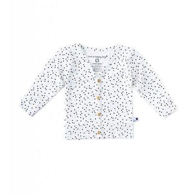 Little Label Vest met knoopjes – zwart & lichtblauw gestipt