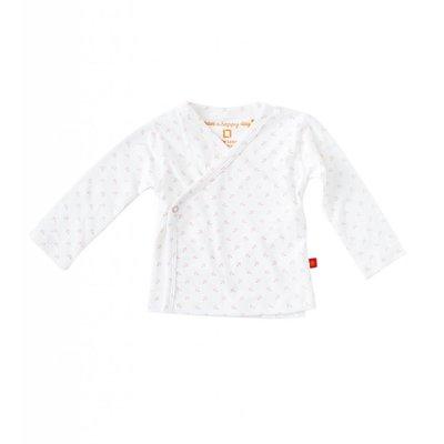 Little Label Wikkelshirt lange mouw – off white met roze ankertjes