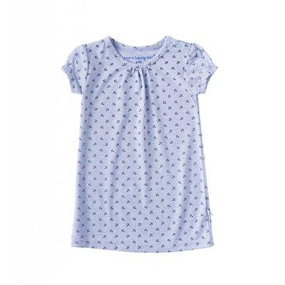 Little Label Jersey jurk korte mouw – lichtblauw met zwarte ankertjes