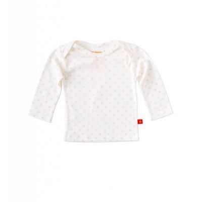 Little Label Shirt lange mouw – off white met roze ankertjes