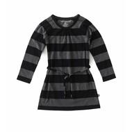 Little Label Jersey babyjurkje – grijs/zwarte strepen – maat 74 en 80