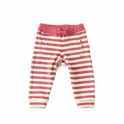 Little Label Baby sweatbroekje – roze/beige gestreept – maat 74 en 80