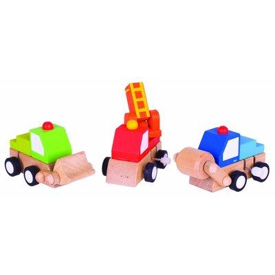 Bigjigs Toys Opwindbare Houten Speelgoed Voertuigen