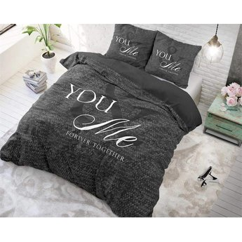 Sleeptime Love for you and me Antraciet dekbedovertrek