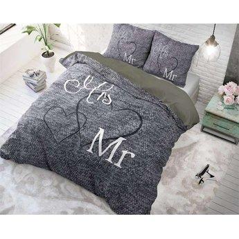 Sleeptime Mr and Mrs 3 Grijs dekbedovertrek