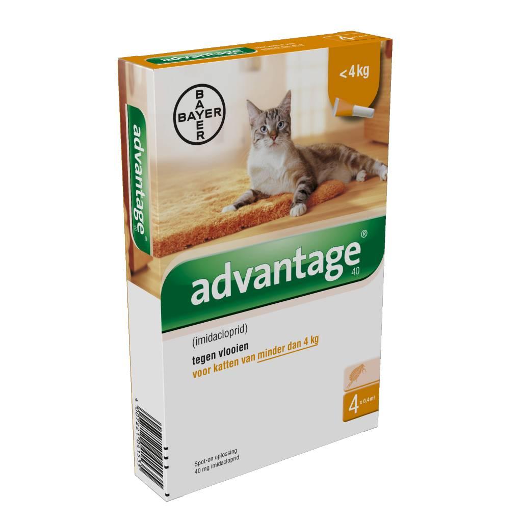 Advantage Kat Advantage 40 Kat - voor de preventie en bestrijding van vlooien bij katten tot 4 kg - 4 pipetten