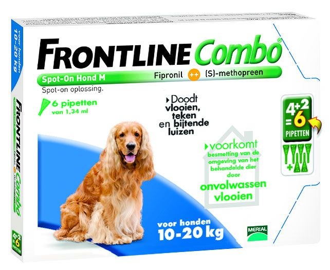 Frontline Frontline Combo M Hond 10kg-20kg | tegen vlooien en teken - 6 pipetten
