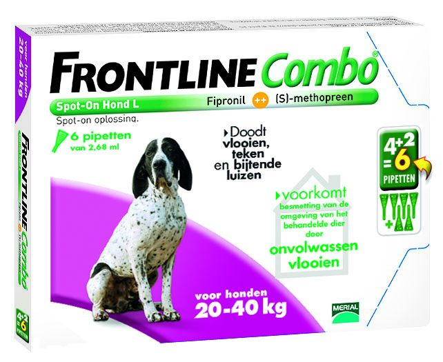 Frontline Frontline Combo L Hond 20kg-40kg | tegen vlooien en teken - 6 pipetten