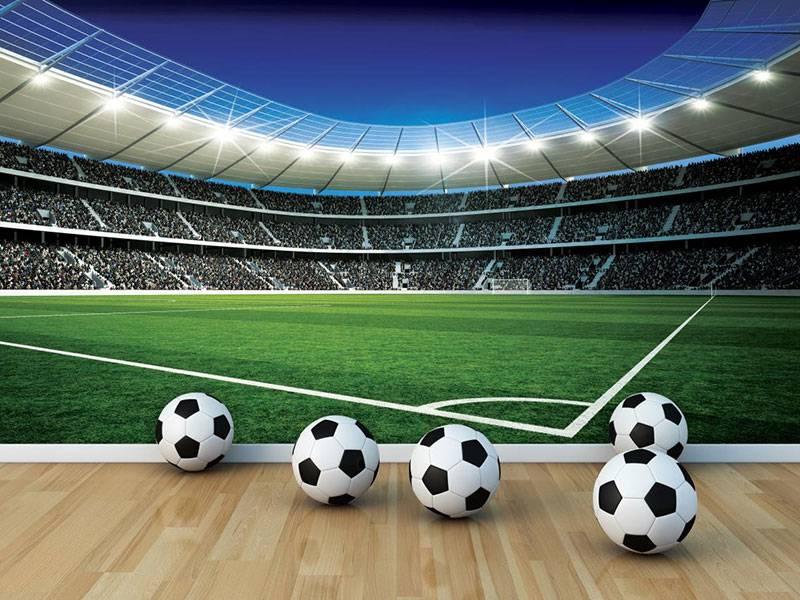 Behang Kinderkamer Voetbal : Kinderbehang walltastic l voetbal stadion corner rap besteld