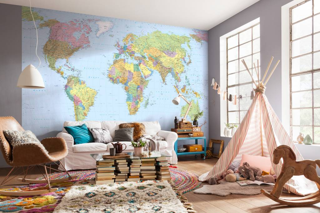 Woonkamer Met Wereldkaart : Fotobehang komar wereldkaarten behang world maps xxl rap besteld