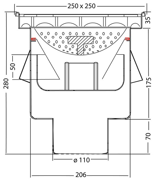 van den Berg Afvoerputten BV Industrieput 250 x 250 mm