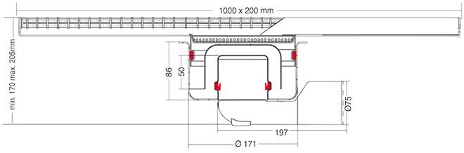 van den Berg Afvoerputten BV Keukengoot 1000 x 200 mm