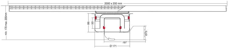 van den Berg Afvoerputten BV Keukengoot 2000 x 200 mm