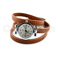 Genuine leather wristwatch in brown
