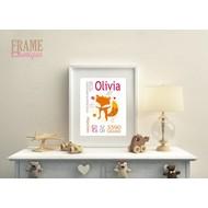 """Frame-Unique Baby Geburtsgeschenk - Geburtsdaten Digitaldruck """"Olivia"""""""