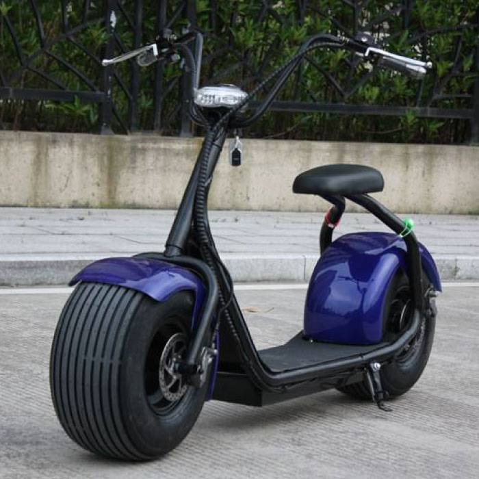"Citycoco Elektrische Smart E Scooter Pro Harley - 18"" - 1000W - 12Ah - Blauw"