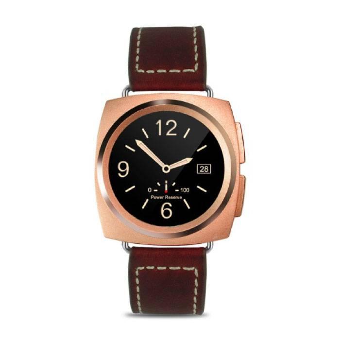Originele A11 Smartwatch Smartphone Horloge Android iOS Goud Leer