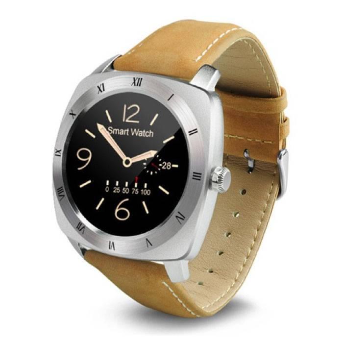 Originele DM88 Smartwatch Smartphone Horloge OLED Android iOS Zilver Leer