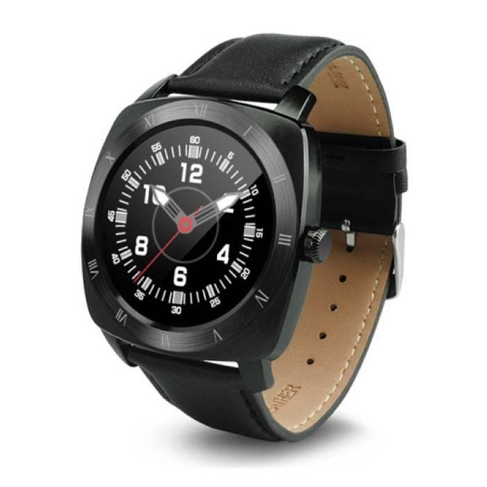 Originele DM88 Smartwatch Smartphone Horloge OLED Android iOS Zwart Leer