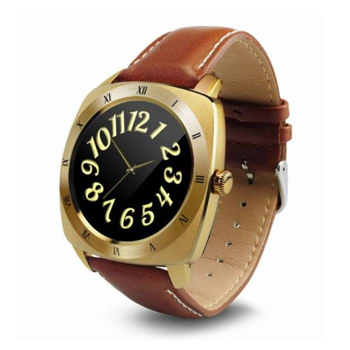 Original DM88 Smartwatch Watch OLED Smartphone Android iOS Gold Leather