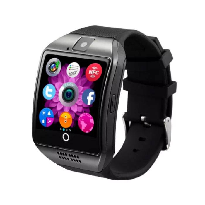 Stuff Certified ® Originele Q18 Smartwatch Curved HD Smartphone Horloge OLED iOS Android Zwart