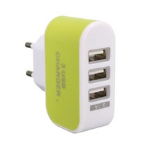 Triple (3x) USB Port iPhone/Android Stekker Lader Oplader Adapter Wall Charger Chargeur Groen