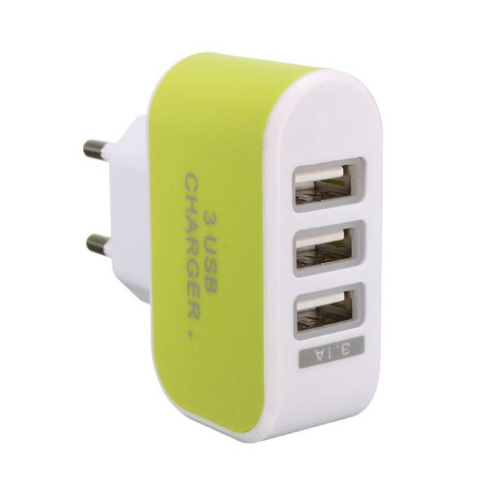 Triple (3x) USB Port iPhone/Android Muur Oplader Wallcharger Groen