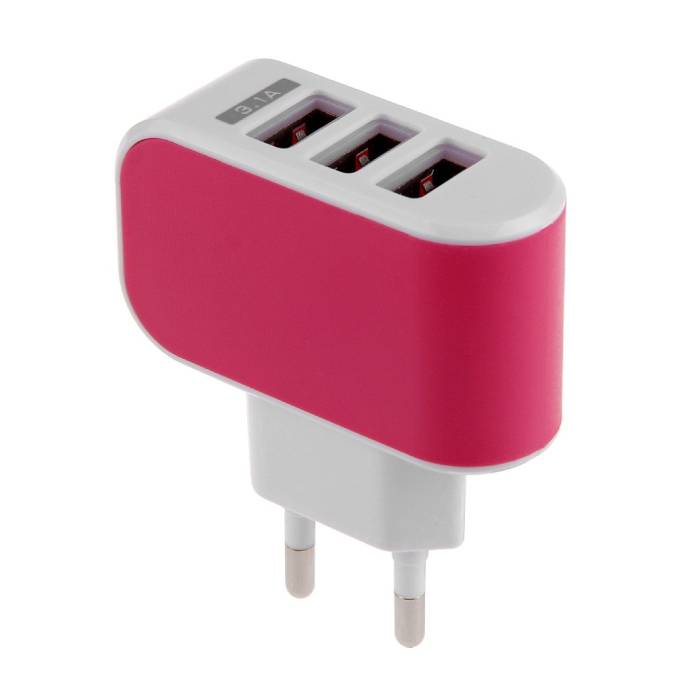 Triple (3x) USB Port iPhone/Android Muur Oplader Wallcharger Roze