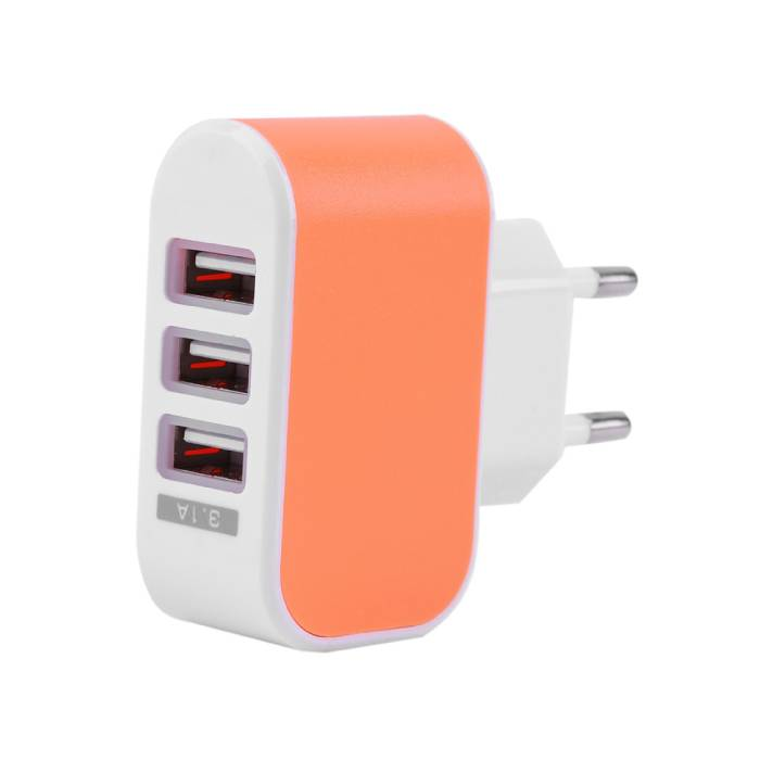 Triple (3x) USB Port iPhone/Android Muur Oplader Wallcharger AC Thuis Oranje