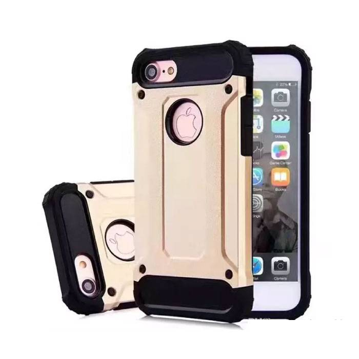 iPhone 8 Plus - Gold Plated Armor Case Cover Cas Silicone TPU Hoesje Goud