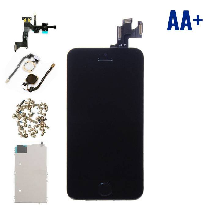 iPhone 5S Front Mounted Display (LCD + Touch Screen + Parts) AA + Quality - Black